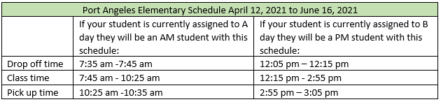 Elementary Schedule April 12 to June 16